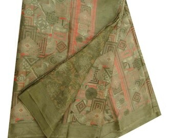 Free Shipping Vintage Indian Saree Pure Silk Printed Fabric Antique Deco Craft Antique Green Sari 5YD  PS35330