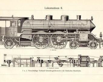 1895 Antique Locomotive Train Trains Transportation Matted 11 X 14 Antique Print