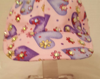 Purple hearts embellished on kids hats size from new born to 5T washable cotton free shipping