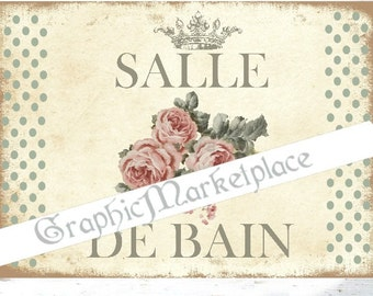 Le bain sign etsy for Salle de bain door sign