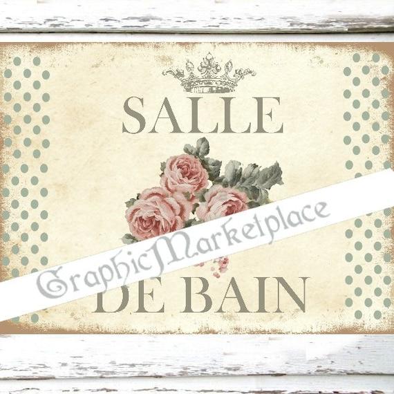 Salle de bain bath roses polka dots door hanger digital - Salle de bain shabby ...