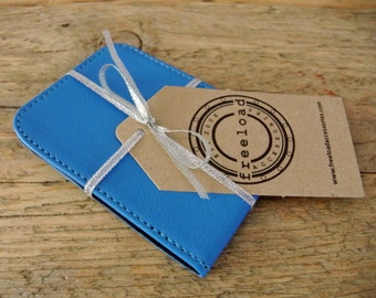 Sky Blue Leather Card Holder