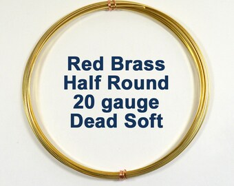 20ga DS Half Round Red Brass Wire - Choose Your Length
