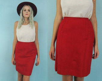 Vintage High Waisted Red Skirt, 60s Wool Mini Skirt, Pencil Skirt, Size Small