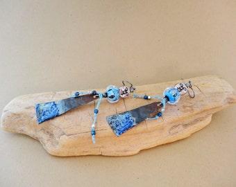 Luna earrings - Bohemian, Dangle, Artisan, Blue, Silver
