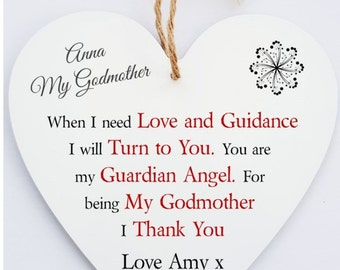 Personalised Godmother Hanging Heart Sign Plaque.