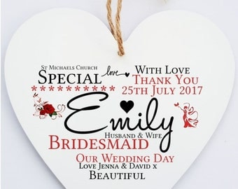 Personalised Bridesmaid Wedding Word Art Thank You Heart Sign Plaque.