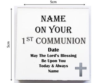 Personalised Mini Novelty Wooden Plaque - First Communion.with Display Stand & Organza Gift Bag