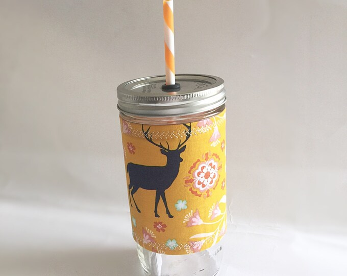 Floral Buck Deer Insulated Mason Jar Tumbler and Cozy w BPA Free Straw - Travel Mug Great Gift