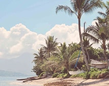 Hawaii Ocean Photography, Oahu - Vintage Tone, Pastel, Retro, Beach, Palm Trees, Hawaiian Decor Art Print Canvas