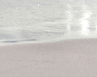 Beach Sand Ocean Photography - Minimal, Minimalist, Pastel, Light, Surreal, Tan, Brown, Shine, Water, Reflection Oahu Hawaii Fine Art Print