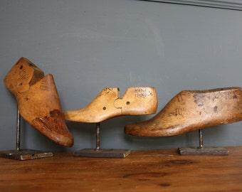 Vintage Antique Industrial Shoe Lasts On Steel Stands
