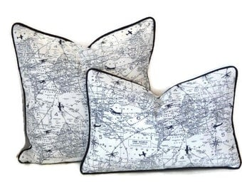 Air Traffic Navy and White Pillow Cover- Vintage Airplane Print Pillow Cover-Blue and White Pillow Cover-World Map Pillow