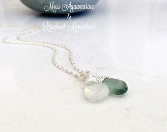 Moss Aquamarine & Moonstone Necklace Aquamarine Jewelry Rainbow Moonstone Jewelry Moonstone Necklace April March Birthstone Beach Wedding