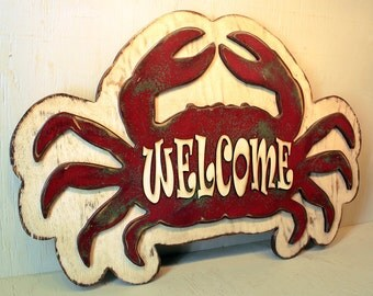 Crab Welcome Sign Beach Wall Art Large Coastal Art Decor Coastal Beach Decor Coastal Decor Large Beach Wall Art Ocean Art READY TO SHIP