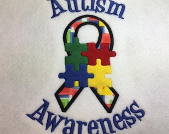 Autism Awareness  - Awareness Ribbon  -4 Sizes Included - Embroidery Design -   DIGITAL Embroidery DESIGN
