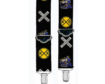 """Kids Suspenders - RAILROAD - 3 Sizes for Better Fit - 1.5"""" Width"""