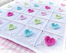 CROCHET PATTERN  All Heart Blanket Crochet Blanket Pattern Baby Hearts Blanket Crochet Heart pattern Granny Square Blanket Pattern Pdf NO.7A