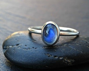 moonstone engagement ring, blue moonstone ring silver, delicate ring  moonstone, June birthstone ring, modern ring anniversary gift for her
