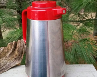 Rad Red & Silver Corning Thermique Coffee Carafe