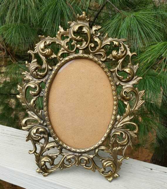 rococo ornate brass picture frame stand up or hanging. Black Bedroom Furniture Sets. Home Design Ideas