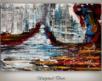 CONTEMPORARY ART Cityscape Painting, Large Abstract Red Cityscape Art, huge canvas original paintings online fine art artwork by Nandita