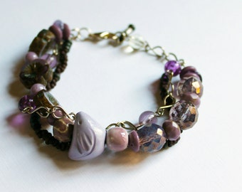 Little lilac bird bracelet