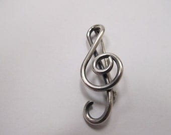 Vintage Sterling Silver Treble Clef Pin Item W # 23
