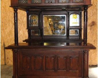 The Dublin Irish Horse Equestrian Tavern Canopy Pub Home Bar Furniture Mahogany