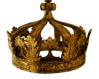 GIANT Gold Leaf CROWN Architectural Teester Element Antique Wood Big Huge Large