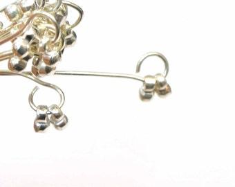 "Sterling Silver Dangle Headpins, 22 GA Sterling Silver Head Pins, 2"", 10 pcs, Earring Findings, Silver pins, Head Pin 22GA, Dangle Head Pin"