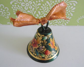 Nice etched copper bell with colored etchings