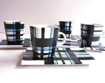 ground blue green black tartan design porcelain coffee cups artisan unique gift