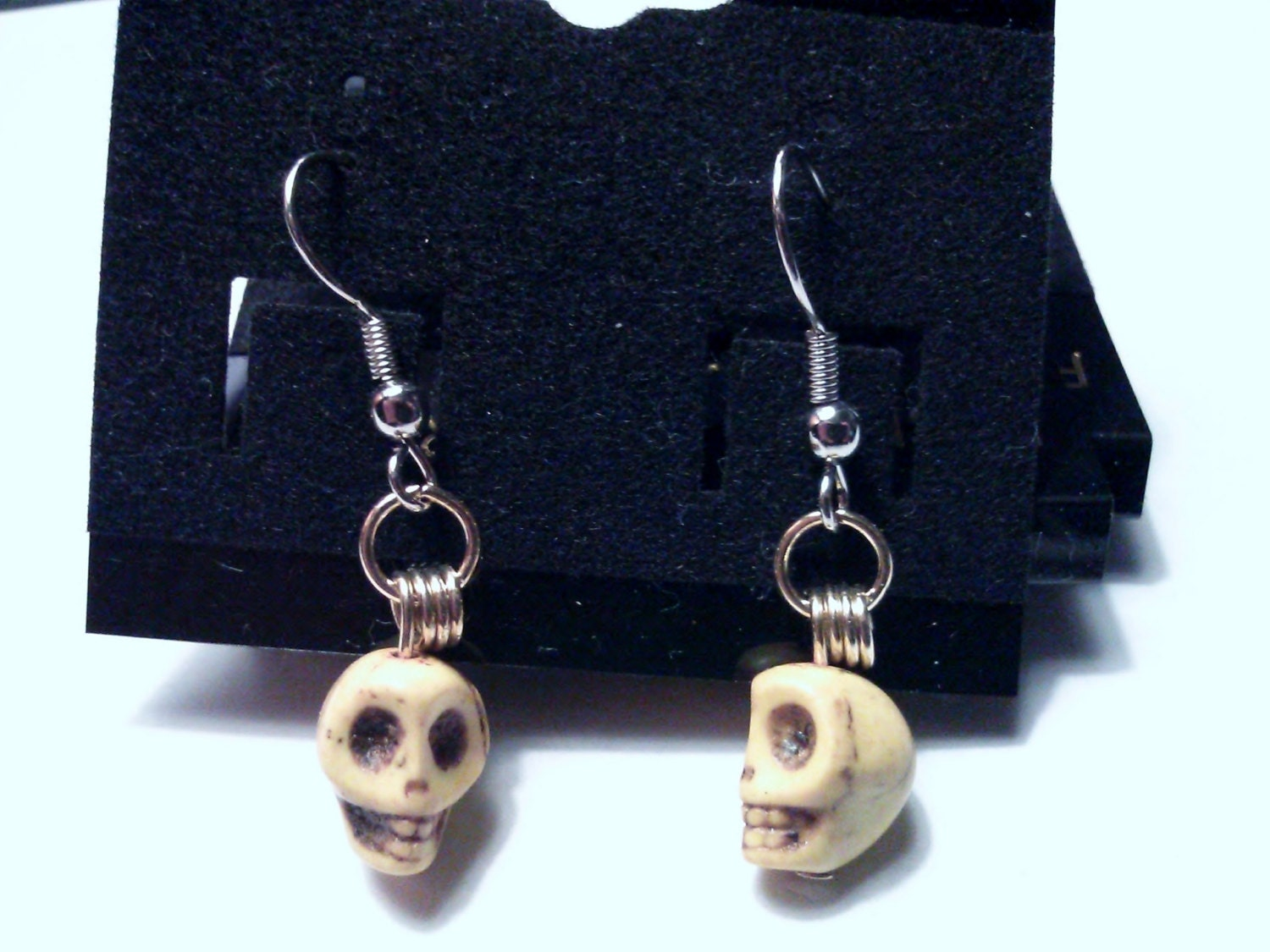 Stone Skull Earrings Dyed Turquoise Your Choice of Color and Your Choice of Fitting Stud Nickle Free Steel Silver Cosplay Gothic Emo Fantasy