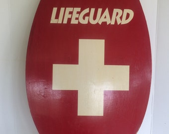 Vintage Lifeguard Skim Board Boogie Board Life Saving Board Red Wood Paddle Board Coastal Nautical