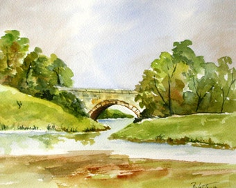 BRIDGE on the RIVER - Original Watercolor, Country Scene, Bridge, Landscape, River Watercolor. Watercolor Painting, Handmade Art Watercolor