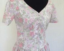 LAURA ASHLEY Floral Tea Dress - Vintage - Summer - Wedding - Garden Party - Free Postage