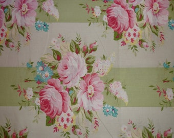Shabby Chic Tanya Whelan Sunshine Roses, Picnic Bouquet in Green Fabric by the Yard