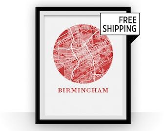 Birmingham Alabama Map Print - City Map Poster