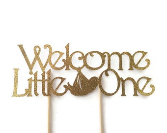Welcome Little One Cake Topper in Gold Glitter, Gold Baby Shower Cake Toppers, Decorations