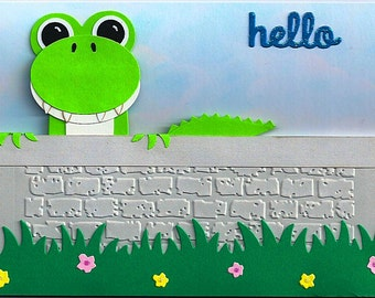 """Greeting card with alligator saying """"Hello"""""""
