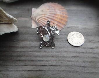 Sterling  Silver Sea Turtle with Rose Cut Rainboe Moonstone