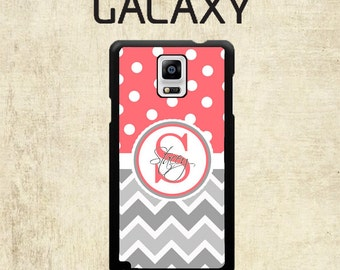 Galaxy S7 Case - Samsung Galaxy S6 Case  - Coral Polka Dot Grey Chevron Galaxy Note 5 Case - Monogram Galaxy Note 7 Case - Galaxy S5 Case
