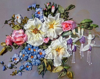"""Embroidered picture """"Fuchsia"""" silk ribbon embroidery, handmade"""