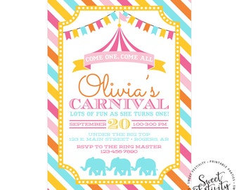 Carnival or Circus Printable Birthday Party Invitation