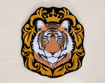 """Baroque Tiger Iron On Patch, Large 5.9"""" by 6.7"""", Big Cat, Wild Cat, Fierce, Powerful, Strong, Motorcycle, Biker, Embroidered Patch"""
