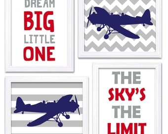 Airplane Nursery Art Red Navy Blue Grey Nursery Print Set of 4 Transportation Dream Big Little One The Sky's The Limit Plane Wall Decor