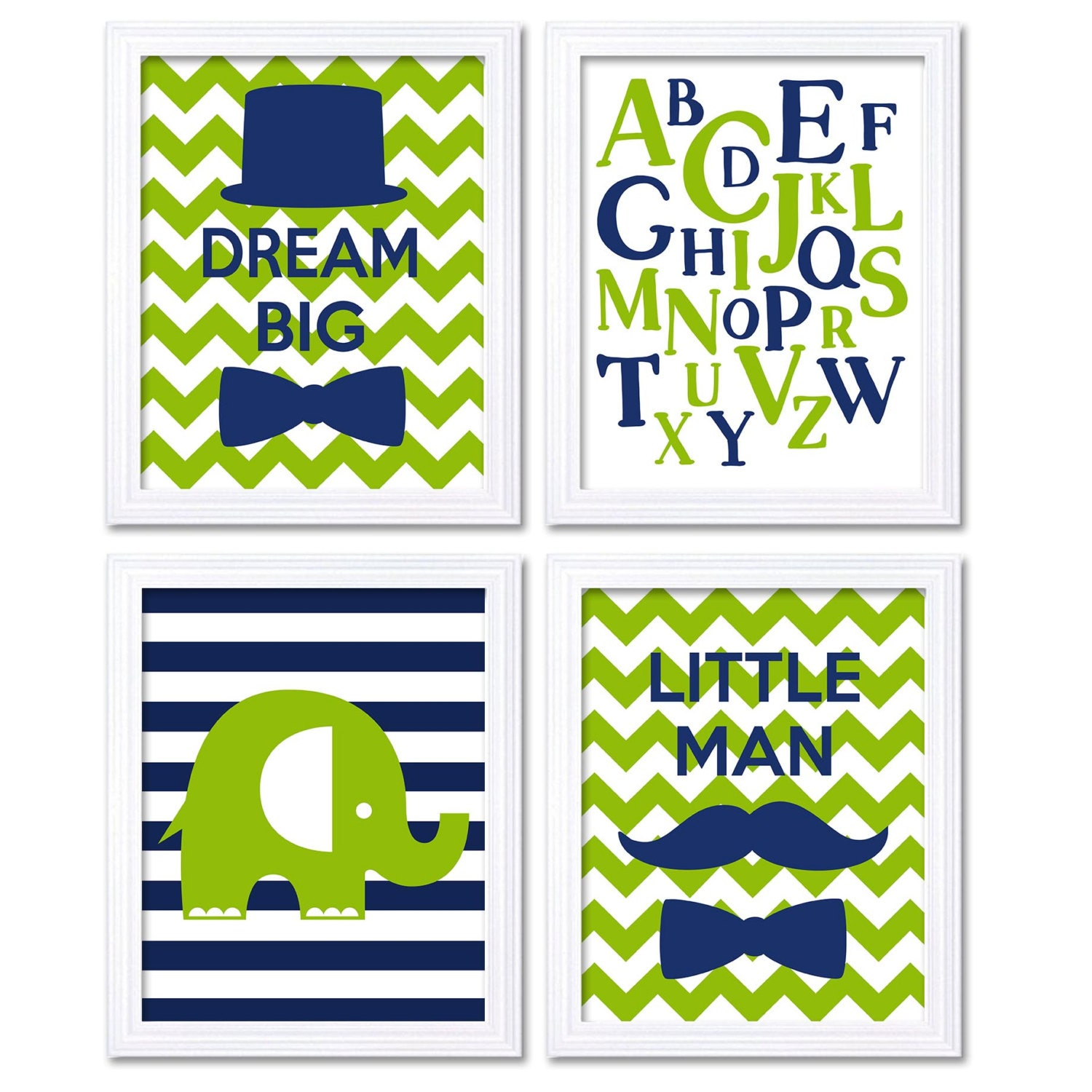 Dream Big Little Man Nursery Art Navy Blue Lime Green Elephant Nursery Decor Print Set of 4 Mustache