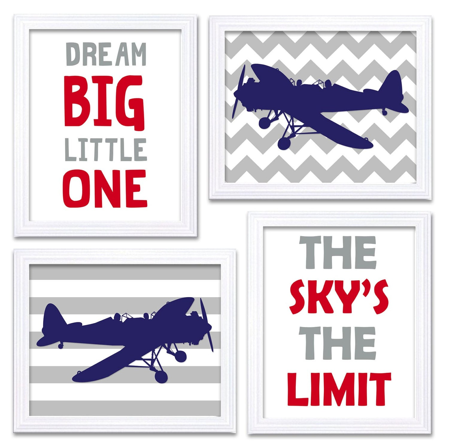 Airplane Nursery Art Red Navy Blue Grey Nursery Print Set of 4 Transportation Dream Big Little One T