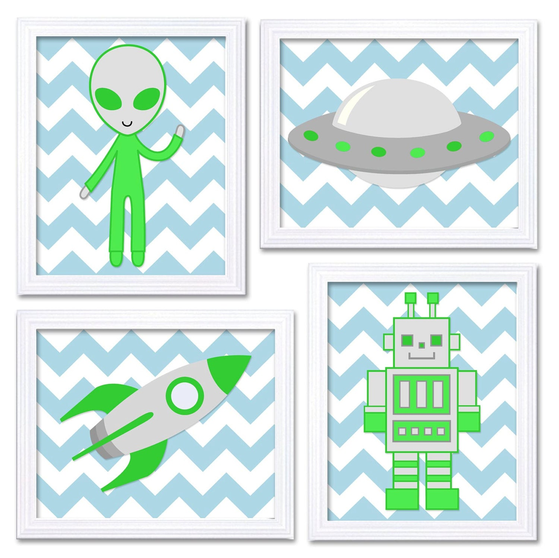 Space Nursery Art Prints Lime Green Blue Alien Spaceship Rocket Robot Boy Kids Room Wall Art Decor S